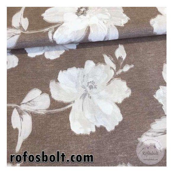 Barna alapon fehér megfestett hatású nagyvirágos dekortextil (ME2225)