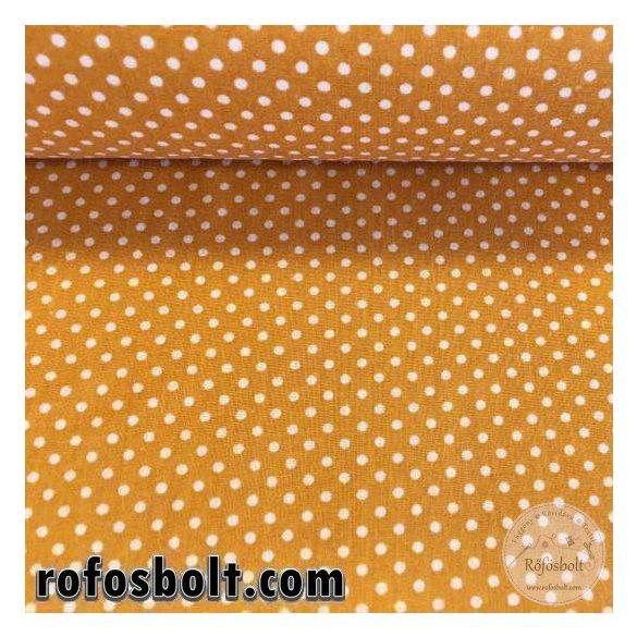 Mustársárga alapon fehér kispöttyös (2mm-es pöttyös) pamutvászon (ME2379)