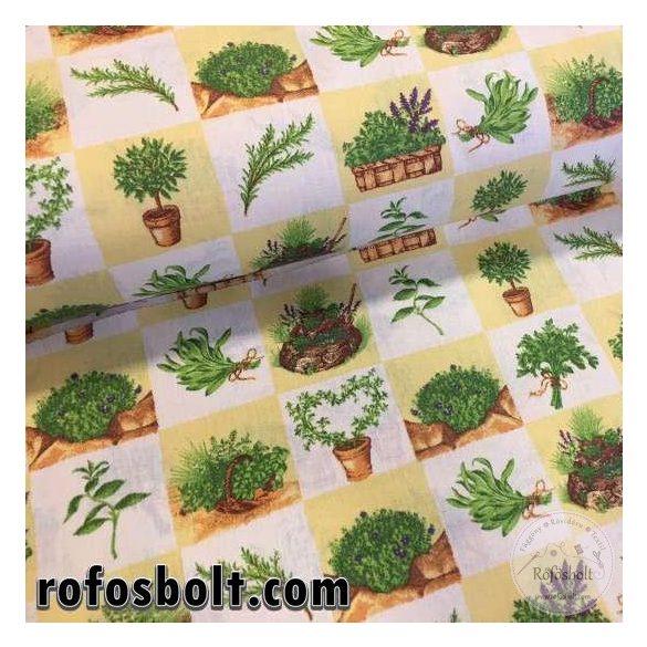 Négyzetekben kerti növényes pamutvászon (ME2403)