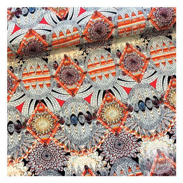 Indián toll mintás, élénk narancs színű flokon (ME2444)