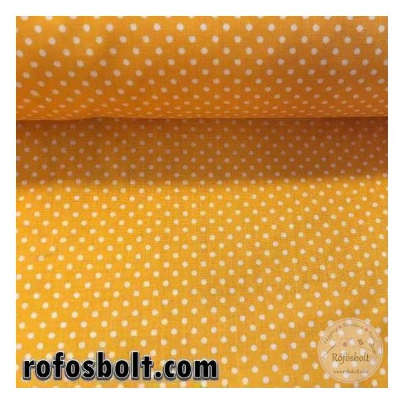Mirinda sárga alapon fehér kispöttyös (2mm-es pöttyös) pamutvászon (ME2489)