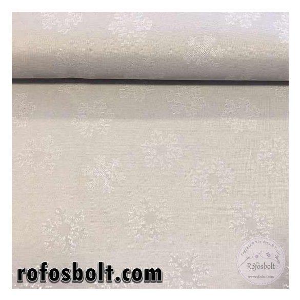 EGYBEN KÉRHETŐ 0,85 m (a kosárba is 0,85-öt írjon!) Vastagabb, ezüst hópelyhes dekortextil (ME2647)