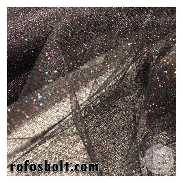 Fekete alapon színes csillámos tüll (ME2736)