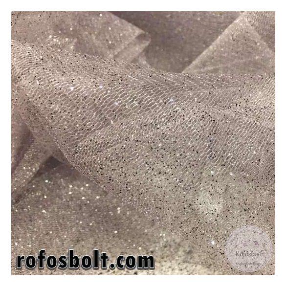 Szürke alapon ezüst csillámos tüll (ME2737)