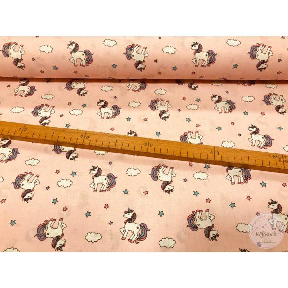 Rózsaszín alapon unikornisos pamutvászon (ME2899)