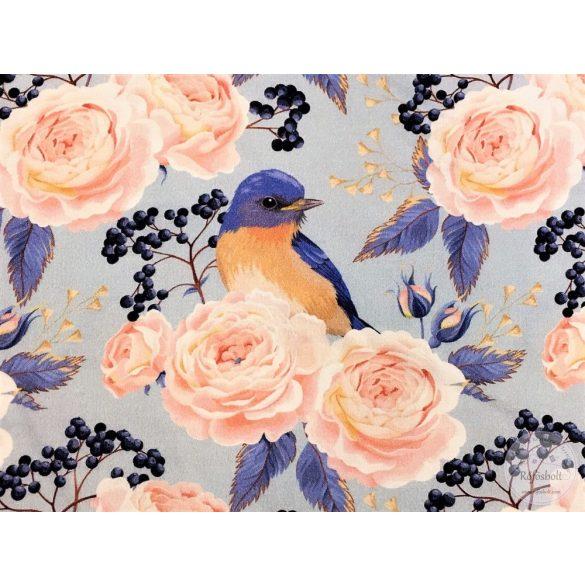 Designer prémium pamutvászon: Kék alapon rózsás-madaras (ME2930)