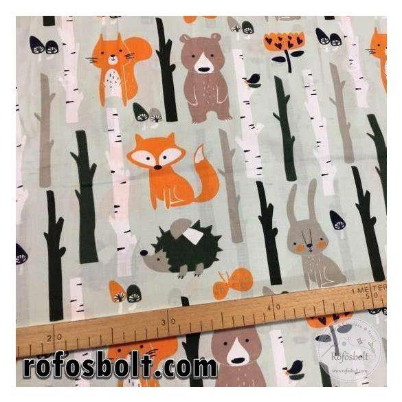 Erdőben lakó erdei állatok (szürkés alapszínnel) 160 cm széles pamutvászon (ME2974)