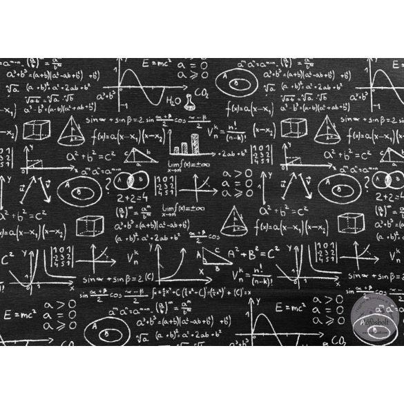 Fekete alapon matek tételes dekortextil (ME2987)