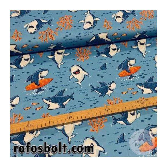 Designer prémium pamutvászon: Kék alapon cuki cápás (ME3007)