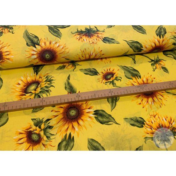 Sárga alapon nagy napraforgós pamutvászon (FTME3019)