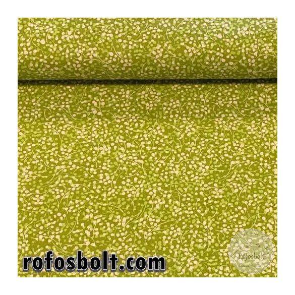 Zöld alapon bogyós-száras pamutvászon (ME3036)