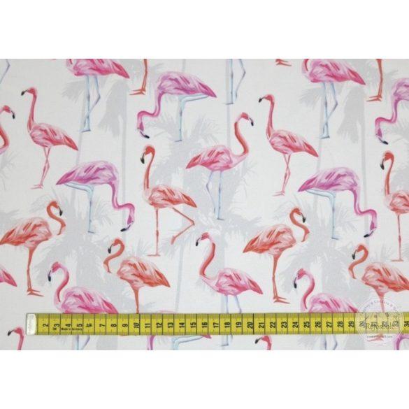 Csak a webshopban: Fehér alapon flamingós vízálló szövet (ME3087)