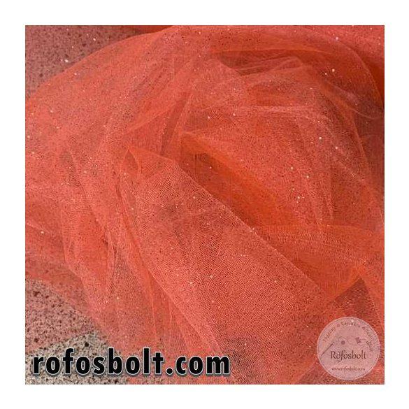 Korall színű csillámos tüll (ME3109)