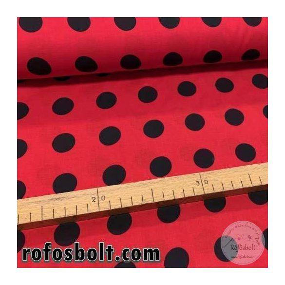 Extra puha pamutvászon: Piros alapon nagy (2 cm-es) fekete pöttyös pamutvászon (FTME3139)
