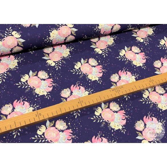 Designer prémium pamutvászon: Lila alapon rózsaszín rózsacsokros (ME3160)