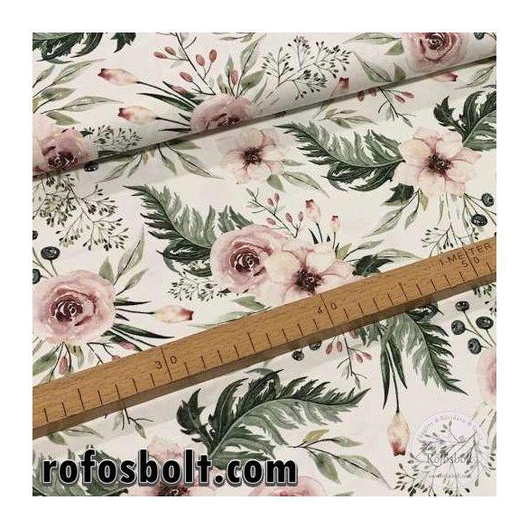 Designer prémium pamutvászon: Fehér alapon rózsaszín rózsás (ME3162)