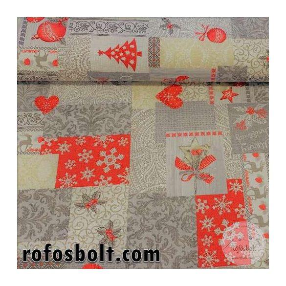 1,25 m EGYBEN KÉRHETŐ Merry Christmas piros-szürke-drappos színvilágú négyzetekben mintás dekortextil (ME3314)