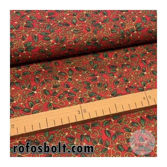 Piros alapon arany-zöld indás-leveles pamutvászon (ME3426)
