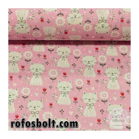 Rózsaszín alapon fehér cicás, kis tulipános 160 cm széles pamutvászon (ME3442)
