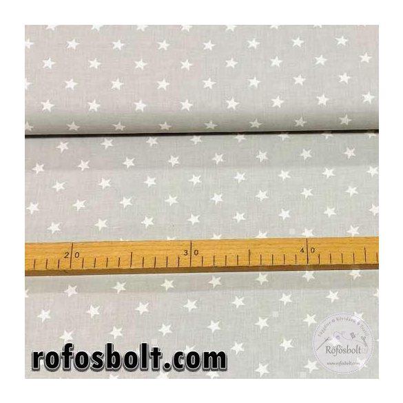 Pasztell szürke alapon fehér csillagos pamutvászon (D-0334-ME3453)