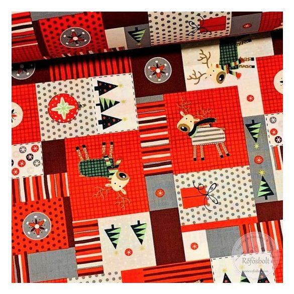 Designer karácsonyi pamutvászon: Patchwork stílusú szarvasos (ME3467)