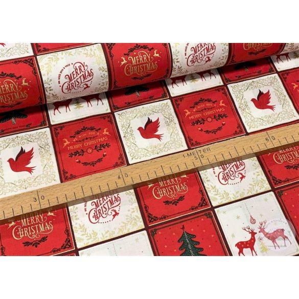 Designer karácsonyi pamutvászon: fehér-piros négyzetekben Merry Christmas mintás (ME3470)