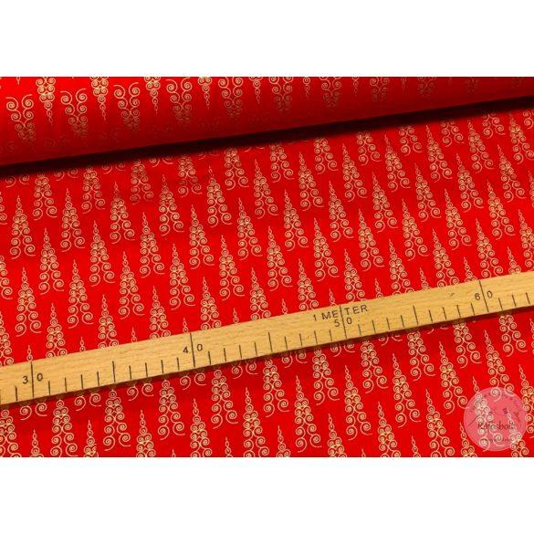 Designer karácsonyi pamutvászon: piros alapon fenyőfák arany nyomással (ME3475)