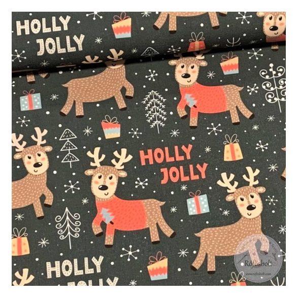 Designer prémium pamutvászon: Holly Jolly szarvasos (ME3489)