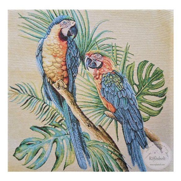 Színes papagájok pálmalevéllel 47×47 cm-es textil panel (ME3547)