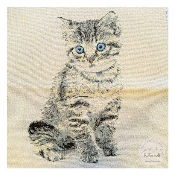 Kék szemű cica 47×47 cm-es textil panel (ME3549)