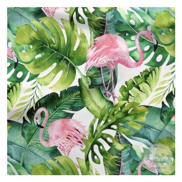Designer prémium pamutvászon: Pálmaleveles-flamingós (ME3553)