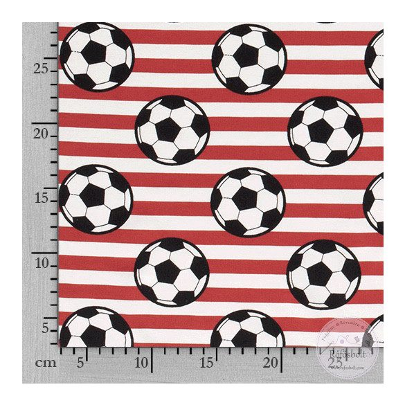 Piros-fehér csíkos alapon focilabdás pamut jersey (ME3585)