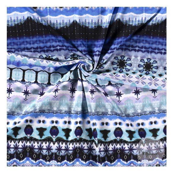 EGYBEN KÉRHETŐ 1,4 m Nyári álom kollekció: Kék-türkiz színvilágú digitális nyomású pamut jersey (ME3595)