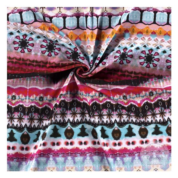 Nyári álom kollekció: Rózsaszín-kék színvilágú digitális nyomású pamut jersey (ME3596)