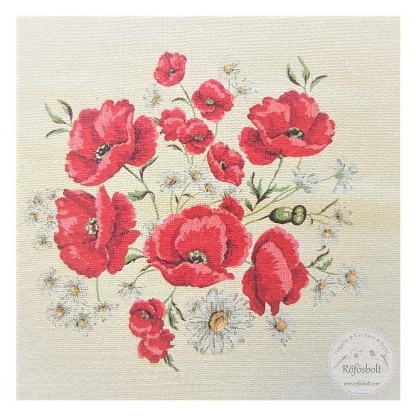 Piros pipacs 47×47 cm-es textil panel (ME3642)