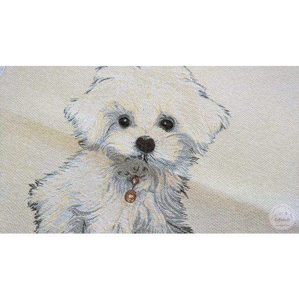 Fehér kiskutya 47×47 cm-es textil panel (ME3643)