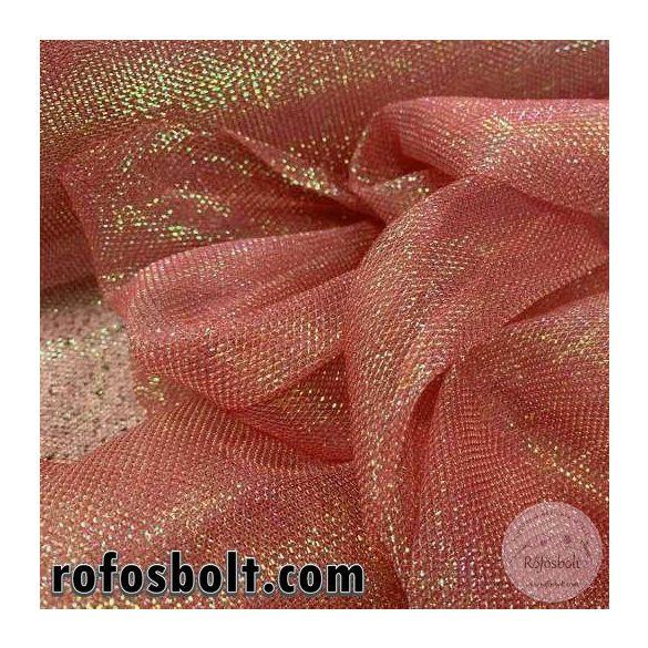 Sellő rózsaszín színváltós csillogós szálas dekorháló (ME3664)