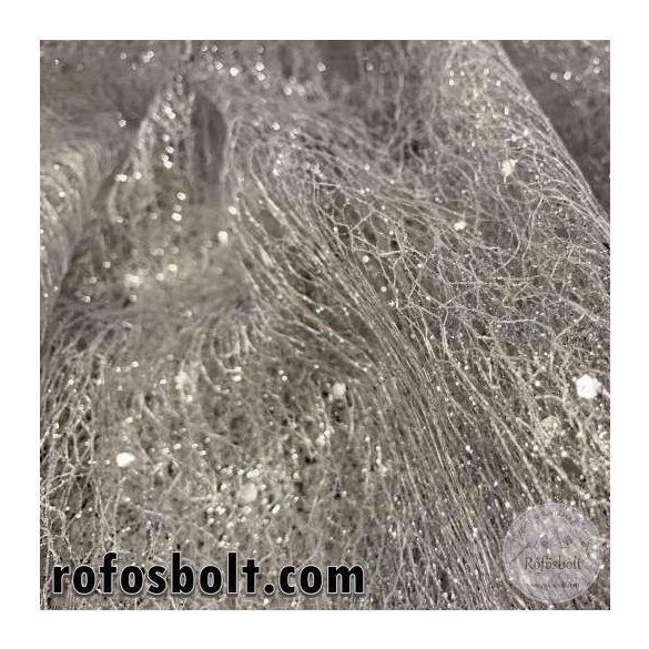 EZÜST flitteres és csillámos hálós anyag (ME3669)