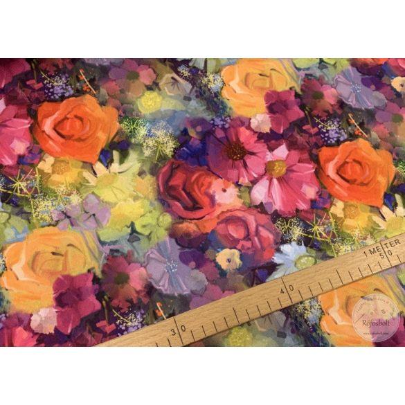 Csak a webshopban: Festett virágos vízálló szövet (ME3672)