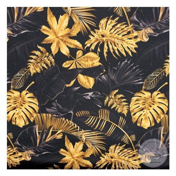 0,8 m EGYBEN KÉRHETŐ Csak a webshopban: Fekete alapon arany leveles vízálló szövet (ME3673)