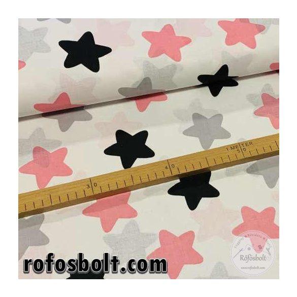 Fehér alapon rózsaszín-szürke-fekete csillagos pamutvászon (ME3738)