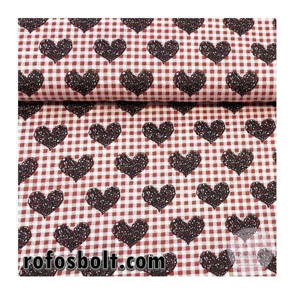 Fehér-piros kockás alapon szívecskés pamutvászon (ME3769)