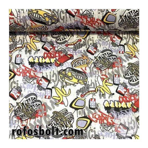 Banán-dobókocka-Taxis pamutvászon (ME3779)