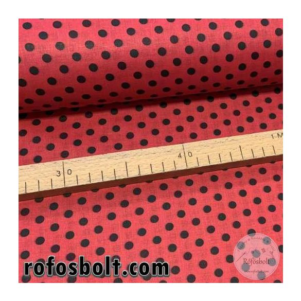 Piros alapon fekete 6 mm-es pöttyös pamutvászon (ME3786)