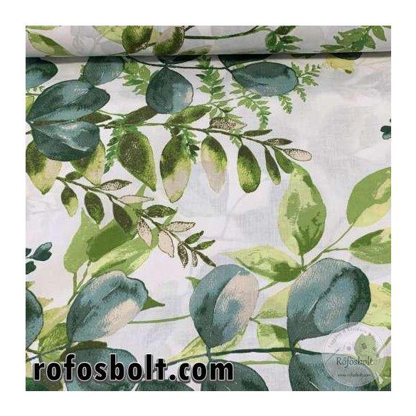 Nagy zöld leveles 160 cm sz. pamutvászon (ME3790)