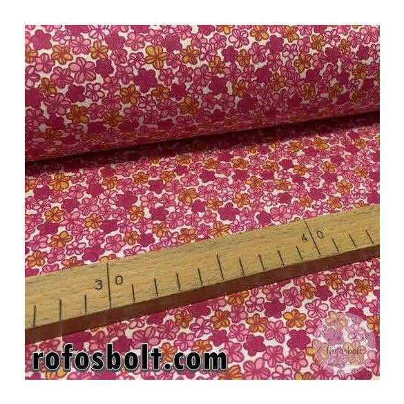 Pink-sárga kisvirágos pamutvászon (ME3813)