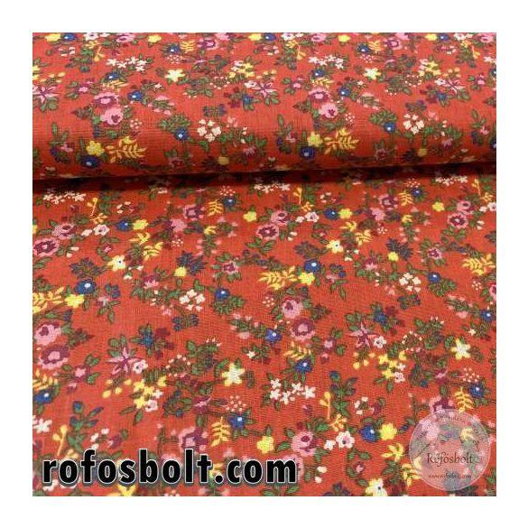 Piros alapon színes virágos pamutvászon (ME3830)