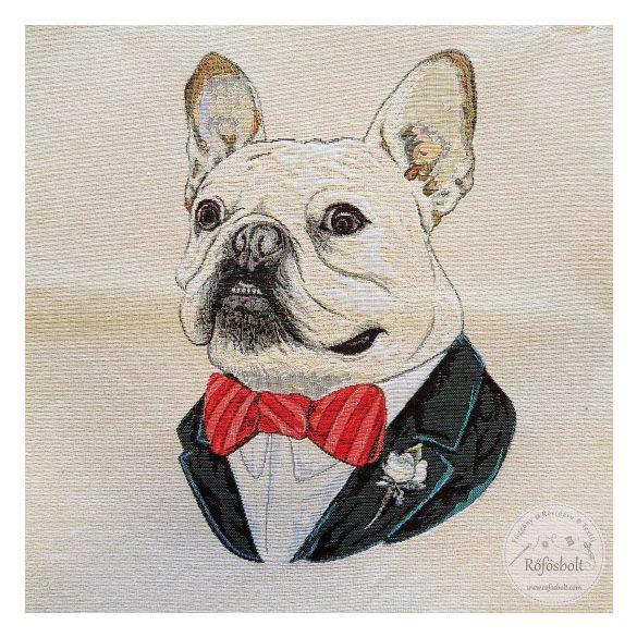 Fehér nyakkendős bulldog panel 47*47 cm-es (ME3846)