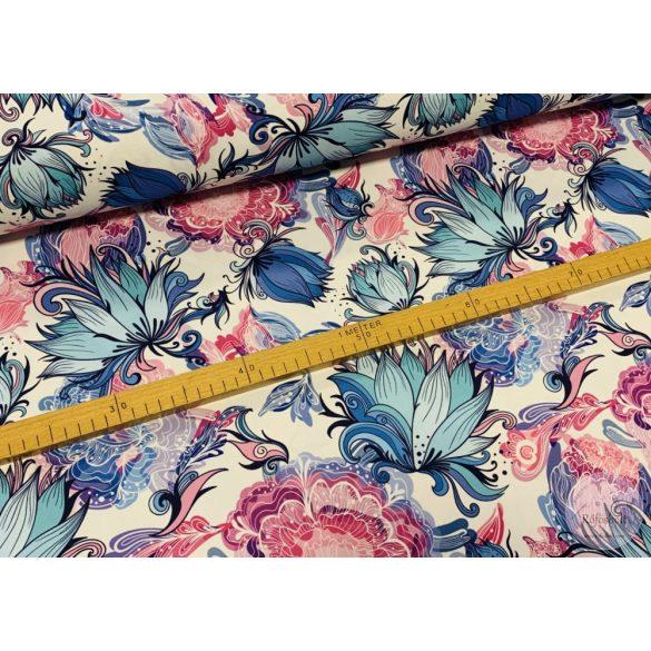 Csak a webshopban: Világos alapon kék-rózsaszín varázs-virágos vízálló szövet (ME3886)