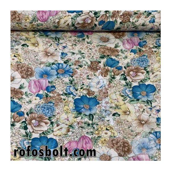 Lila-kék-barna virágos flokon (viszkóz voile) (ME3895)